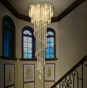 Modern Chandelier LED Crystal Light Ceiling Villa Stairs Lighting Fixtures #1506