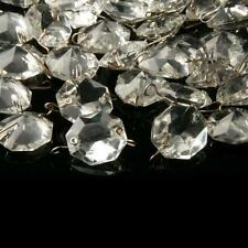 (40) Czech Vintage wired octagon connector beads crystal glass Chandelier Prisms