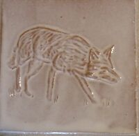 fox tile handmade, low relief tile, tack room, farm kitchen by Helen Baron