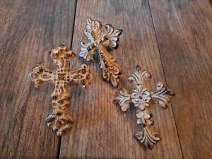 Set of 3 Cross Candle Pins for PILLAR Candles, Fleur de Lis Christian Gifts NEW