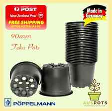 90mm Black Plastic Garden Squat Pots Round x 100pcs Teku VCG - Propagation