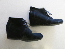 TOMS Black Suede Wedge Shoes Women's 8