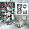 Colorful Tree Bathroom Shower Curtain Set Toilet Rug Cover Anti-slip Bath Mat t
