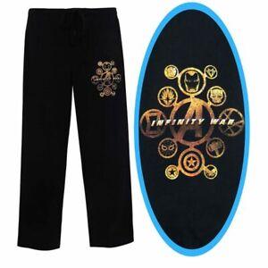 Avengers Infinity Wars Black Gold Logo Lounge Pajama Sleep Bottom PJ Pants