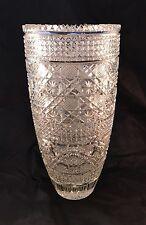 Massive Hand Cut Crystal Vase Sawtooth Rim