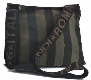 Authentic FENDI Pequin Shoulder Cross Body Bag Nylon Brown C5382