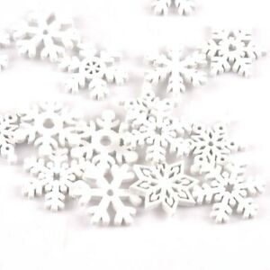 50pcs 22mm White snowflake Wood Slices m2160 Ornaments Wooden Home Scrapbooking