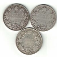 3 X CANADA TWENTY FIVE CENTS QUARTERS GEORGE V 925 SILVER COINS 1913 1916 1917