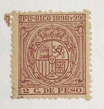 Puerto Rico. Revenue Stamps. 1898 y 99. 2c. de Peso.