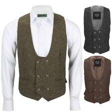 New MensDouble Breasted Tweed Wool Waistcoat Vintage Smart Casual Slim Fit Vest
