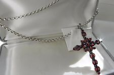 SHOWY! HUGE! 42g sterling silver 925 garnet cross full HM belcher chain necklace