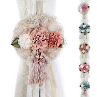 HK- JT_ 2Pcs Window Curtain Tieback Clip-on Rose Flower Tie Holder Drape Decor E