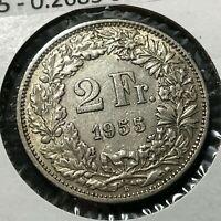 1955 SWITZERLAND SILVER 2 FRANCS HIGH GRADE COIN