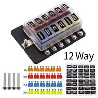 12 Way Blade Fuse Box Block Holder Terminal Circuit for Car Boat Waterproof US