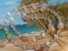 Pretty Clear Frosted Lucite Bead Necklace w/Larger Pink & Floral Pattern Beads