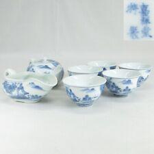 D538: RARE Japanese SENCHA tea utensils of old HIRADO porcelain by famous Kasho