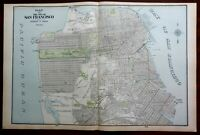 San Francisco detailed city plan 1903 large detailed Cram double page map