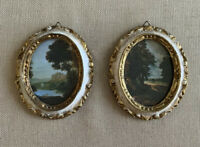 Set Of 2 Vintage Miniature Landscape Pictures In Oval Victorian Frames Italy