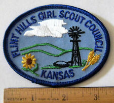 Girl Scout FLINT HILLS COUNCIL PATCH Kansas Windmill Badge NEW Obsolete HTF!