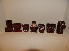 Set of 8 Brown Ceramic Vint Novelty Shot Glasses~Long~Double~Big~Gun~Poor~etc.