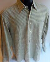 LUCIANO BARBERA Long Sleeve Linen/Cotton Checked Italian Casual Shirt Medium