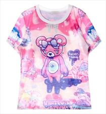 Hello Honey Pink Teddy Bear T-Shirt Kawaii Harajuku Fashion Pastel Goth - LS0026