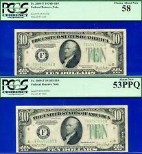 FR-2009-F 1934-D $10 FRN (( Atlanta )) 2-Consecutive PCGS Ab-New 58-53PPQ 94&95