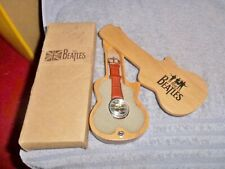 THE BEATLES RUBBER SOUL APPLE TIMEPIECE WATCH WITH WOODEN GUITAR CASE AND BOX