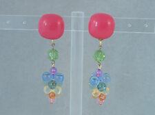 Boucles d'oreilles CLIPS pendantes—Multicolore—Eléments vintage—Artisanat