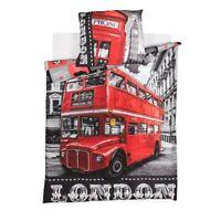 Set Cama Londres Autobuses Funda Nórdica Almohada Algodón 160x200cm Original