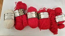 Spinnerin Versatile Acrylic/wool/vinyon red and white 5 40 gram balls NEW!