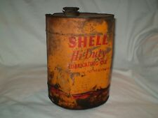 Vintage Rare Round SHELL HI-Duty Oil Can 2 gallon with Pour Spout