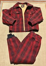 True Vintage Woolrich Jacket and Pants Red Plaid Wool Suit Large 1930's