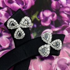 1.53TCW Rose Cut Diamonds in 18K solid white gold earrings art deco Vintage Stud