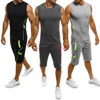 Men Tracksuit Set Sleeveless Vest Top Shorts Sports Wear Joggers Gym Casual Suit