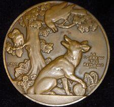 Jean Vernon Le Corbeau Et Le Renard Medaille Crow & Fox Vintage Bronze Medal