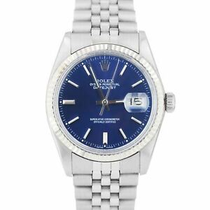 Rolex DateJust 36mm Stainless Steel Blue Index Dial Jubilee Fluted Watch 16014