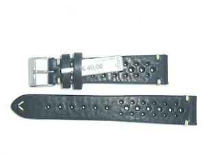 """FLUCO Genuine Vintage Leather Watch Band Strap 19 mm Black """"HUNTER RACING"""""""
