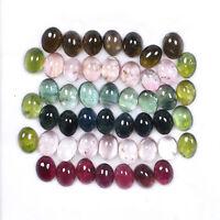 49 Pcs Natural Tourmaline 8mm/6mm Oval Cabochon Multi Color Gemstones Wholesale