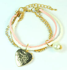 ENCHANTING GOLD AND PINK DELICATE HEART/CHARMS BRACELET (CL11)
