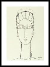 Amedeo Modigliani Female Face Poster Kunstdruck mit Alu Rahmen schwarz 40x30cm