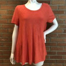 Anthropologie Moth Knit High Low Tunic Sz L Button Back Heathered Coral Pink #R5