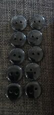 10 X Black Grey White Marbled Round Buttons Sewing Craft 2 Holes 11mm