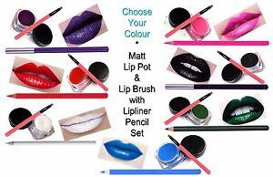 Matt Lip Pot & LipBrush & Lipliner Pencil Set Red Purple White Pink Green CHOOSE