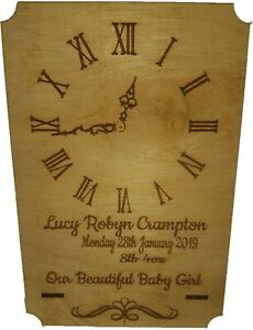 Personalised Standing New Baby Gift, Laser Engraved with time, date weight & nam