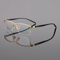 Light Weight Eyeglass Frames  Metal Half Rimless Rectangle Business Mens Rx L757