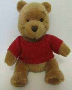 Winnie The Pooh Plush Bear Disney Simply Pooh Stuffed Toy Red Sweater 13 In