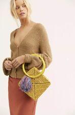 NEW Free People Nannacay Diamond Yellow Woven Basket Tassled Straw Bag