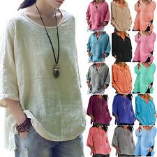 Plus Size Womens Summer Linen Casual Plain Tunic Blouse Tops Shirt Holiday Beach