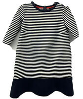 TOMMY HILFIGER Womans Navy Blue and White Striped 3/4 Sleeve Top Shirts Size XS